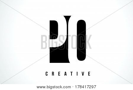 Po P O White Letter Logo Design With Black Square.