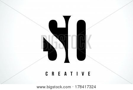Sq S Q White Letter Logo Design With Black Square.