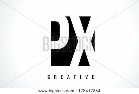 Px P X White Letter Logo Design With Black Square.