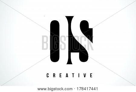 Os O S White Letter Logo Design With Black Square.