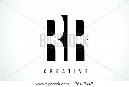 Rr R White Letter Logo Design With Black Square.