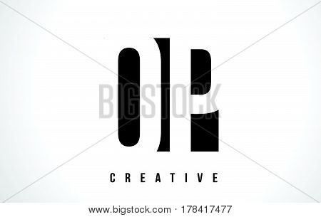 Op O P White Letter Logo Design With Black Square.