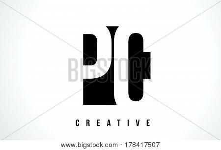 Pc P C White Letter Logo Design With Black Square.