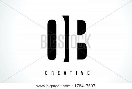 Qb Q B White Letter Logo Design With Black Square.