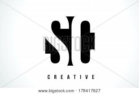 Sc S C White Letter Logo Design With Black Square.