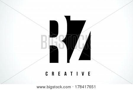 Rz R Z White Letter Logo Design With Black Square.