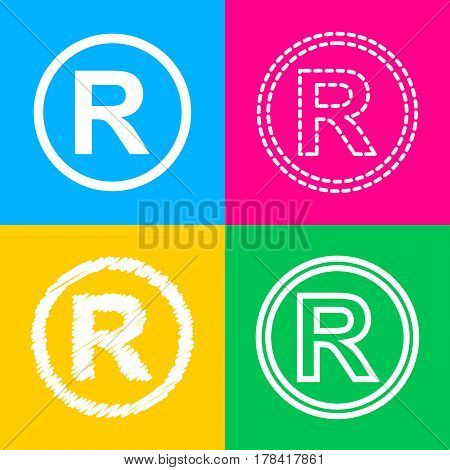Registered Trademark sign. Four styles of icon on four color squares.
