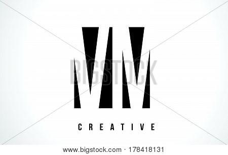 Vm V M White Letter Logo Design With Black Square.