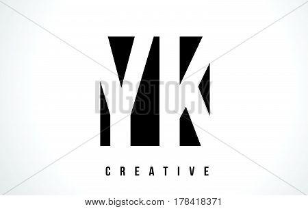 Yk Y K White Letter Logo Design With Black Square.