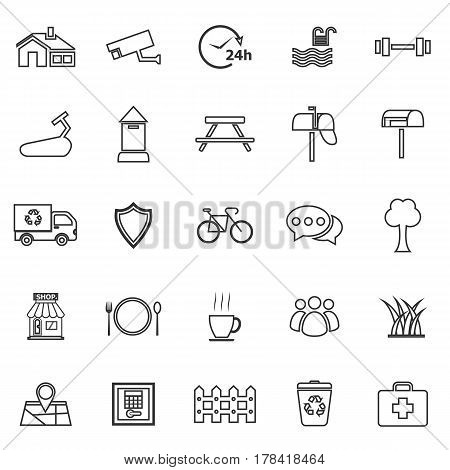 Village line icons on white background, stock vector
