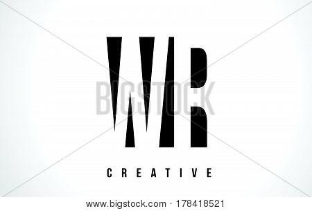 Wr W R White Letter Logo Design With Black Square.