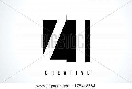 Zt Z T White Letter Logo Design With Black Square.