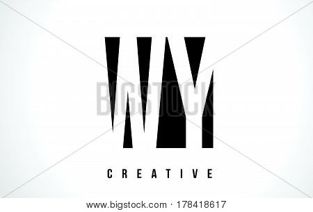 Wy W Y White Letter Logo Design With Black Square.