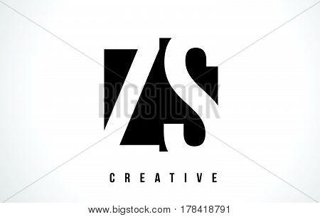 Zs Z S White Letter Logo Design With Black Square.