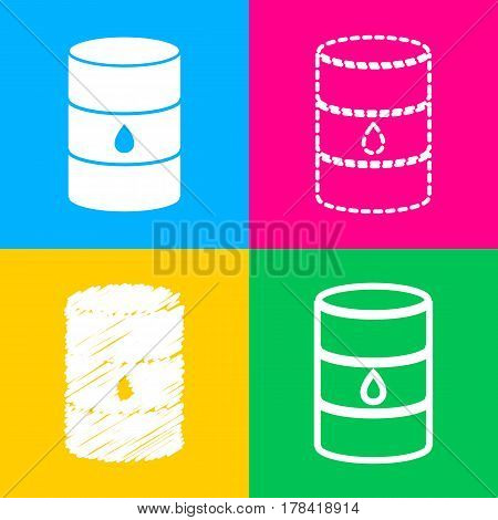 Oil barrel sign. Four styles of icon on four color squares.
