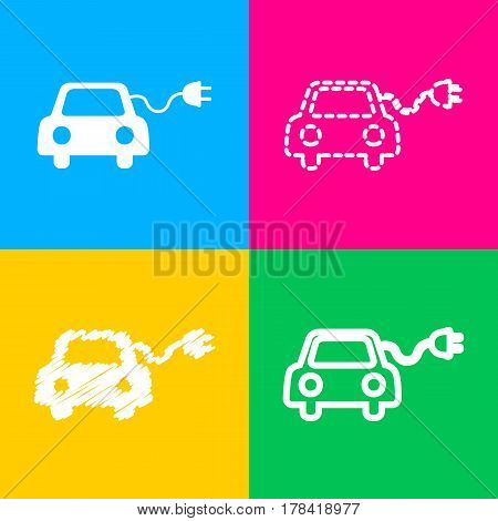 Eco electric car sign. Four styles of icon on four color squares.