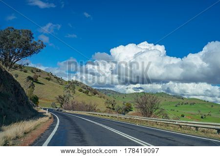 Australian Outback Road, Highway On Sunny Day. Rural Infrastructure Concept