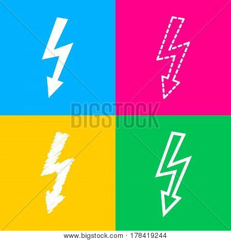 High voltage danger sign. Four styles of icon on four color squares.