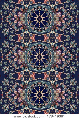 Beautiful vector pattern with abstract flowers and bright ornament. Border print for fabric in ethnic style.