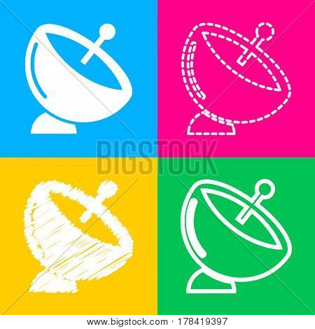 Satellite dish sign. Four styles of icon on four color squares.