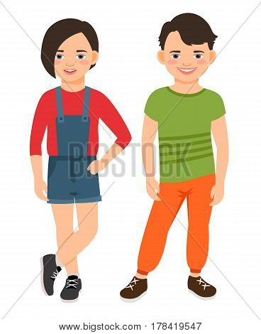 Fashion teen boy and girl characters isolated on white background. Teenage high school smiling children vector illustration