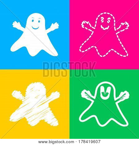 Ghost isolated sign. Four styles of icon on four color squares.