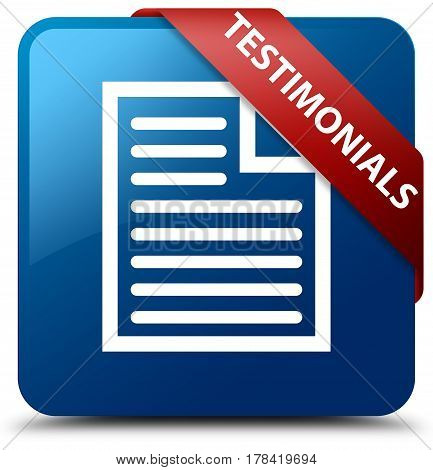 Testimonials (page Icon) Blue Square Button Red Ribbon In Corner