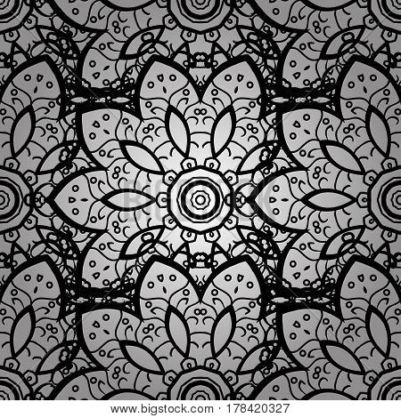 Seamless oriental ornament in the style of baroque. Traditional classic gray vector pattern on doodles background with gray elements.