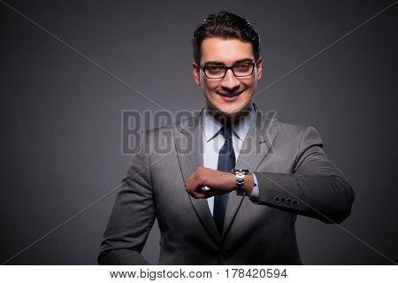 Businessman in time management concept