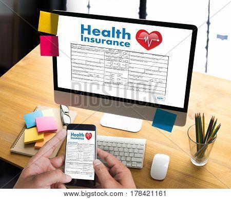 Health Insurance Digital Application Concept Health Care