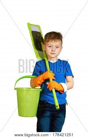 A boy with a MOP and bucket . Little helper .