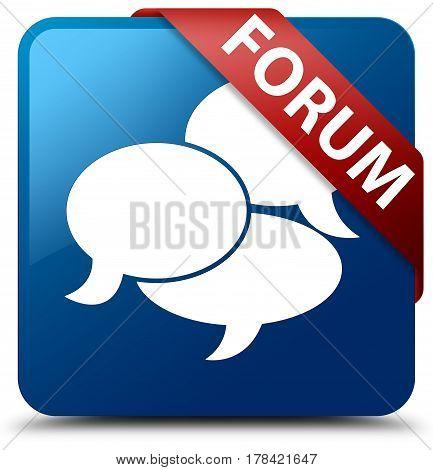 Forum (comments Icon) Blue Square Button Red Ribbon In Corner