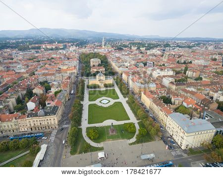 Aerial view of Zagreb, King Tomislav Square, Croatia poster