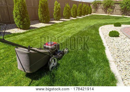 Lawn mower in the garden on green grass