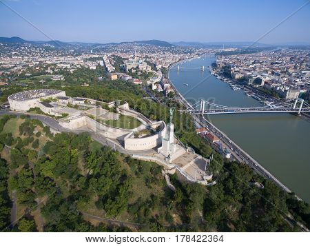 Aerial view of Liberty statue at Gellert hill in Budapest. Hungary.