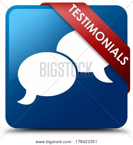 Testimonials (chat Icon) Blue Square Button Red Ribbon In Corner