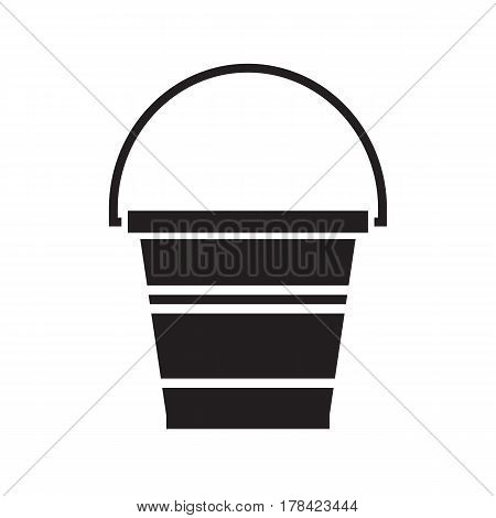 Garden bucket outline icon. Water pail metal container silhouette for gardening or housework.