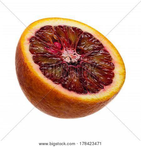 Juicy slice of Sicilian orange fruit isolated on white background. clipping path.
