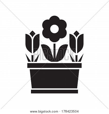 Spring flower pot with tulips and abstract blossom silhouette vector illustration. Flowerpot icon in outline design.