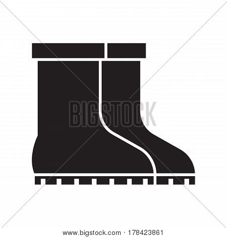 Garden boots vector outline icon. Pair of gumboots silhouette isolated on white background. Symbol of garden work or autumn rainy weather.