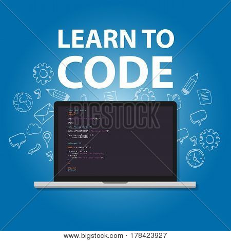learn to code programming language study practice education vector