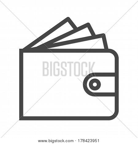 Wallet Thin Line Vector Icon. Flat icon isolated on the white background. Editable EPS file. Vector illustration.