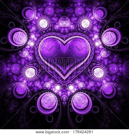 Abstract Ornamented Heart With Gems. Fantasy Detailed Fractal Background In Bright Purple Colors. Di