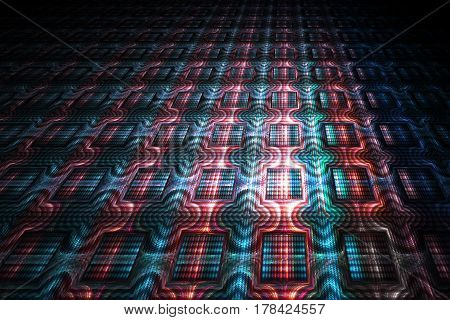 Abstract Ornamented Background. Fantasy Red And Blue Fractal Texture. Digital Art. 3D Rendering.
