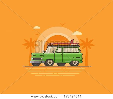 Surf car on palm beach background. Surfing auto travel concept vector illustration in flat style. Green SUV with surfing board on seaside. Summer landscape with automobile on tropical sunset backdrop.