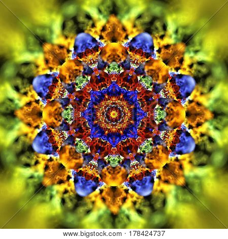 Abstract Exotic Flower. Psychedelic Mandala Design In Yellow, Blue, Green And Brown Colors. Fantasy