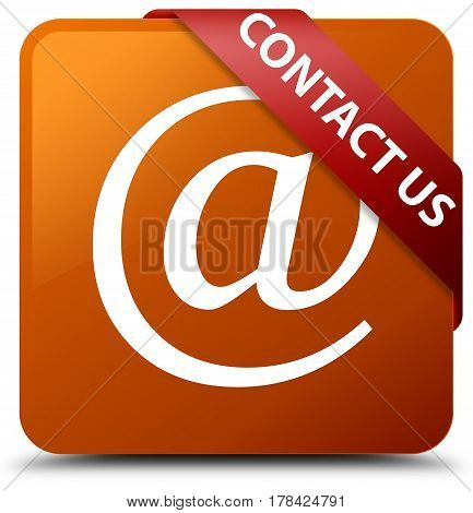 Contact Us (email Address Icon) Brown Square Button Red Ribbon In Corner