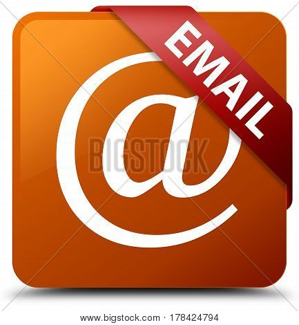 Email (address Icon) Brown Square Button Red Ribbon In Corner