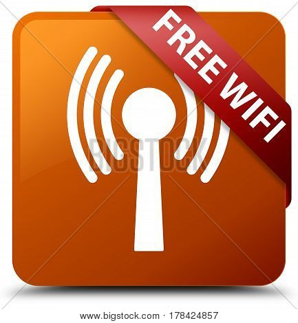 Free Wifi (wlan Network) Brown Square Button Red Ribbon In Corner