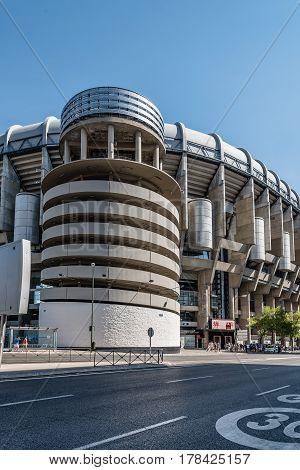 Madrid Spain - September 14 2016: Santiago Bernabeu Stadium. It is the current home stadium of Real Madrid Football Club. Outdoors view